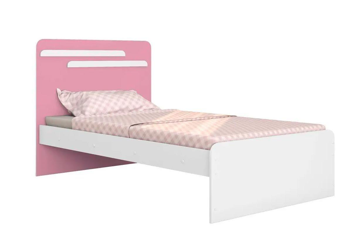 Cama de Solteiro Conquista LuanaCor Branco c/ Pink