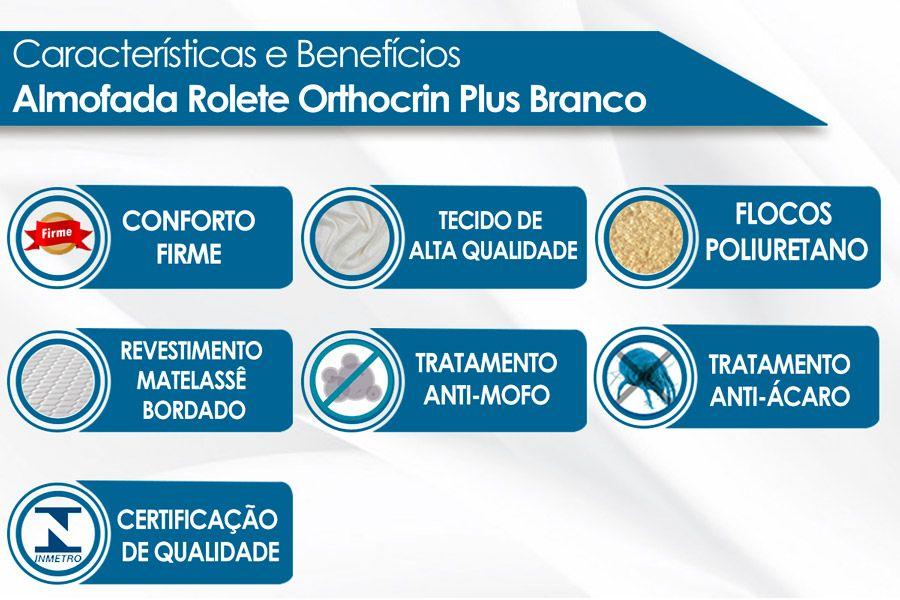 Almofada Rolete Orthocrin Plus Suede Branco