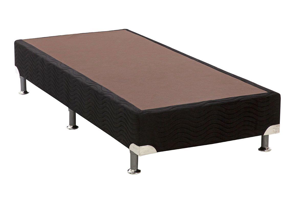 Cama Box Base Universal Nobuck Nero Black 20Cama Box Solteiro - 0,78x1,88x0,20 - Sem Colchão