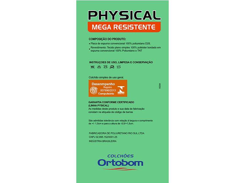 Colchão Ortobom de Espuma Physical Mega Resistente Selado INMETRO - Colchão Ortobom