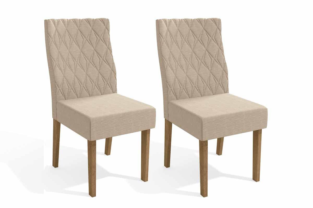 Conjunto c/ 2 Cadeiras Kappesberg 2CAD130 FreijóCor Freijó - Assento/Encosto Linho Bege A019