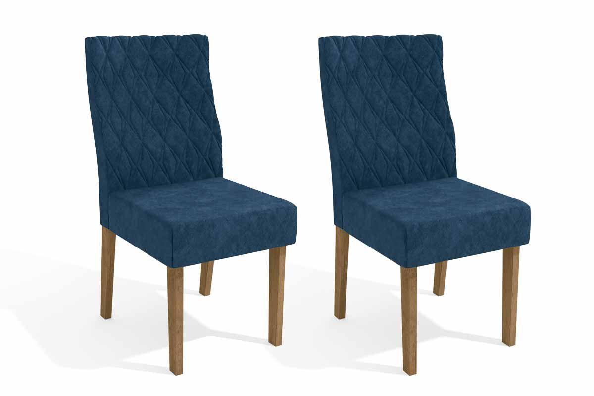 Conjunto c/ 2 Cadeiras Kappesberg 2CAD130 FreijóCor Freijó - Assento/Encosto Veludo Azul Marinho D008