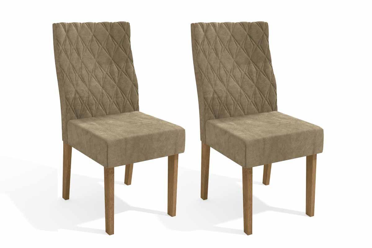 Conjunto c/ 2 Cadeiras Kappesberg 2CAD130 FreijóCor Freijó - Assento/Encosto Caramelo D005