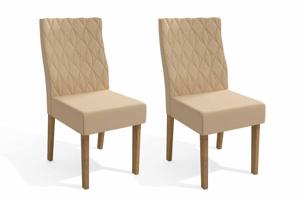 Conjunto c/ 2 Cadeiras Kappesberg 2CAD130 FreijóCor Freijó - Assento/Encosto Veludo Bege A020
