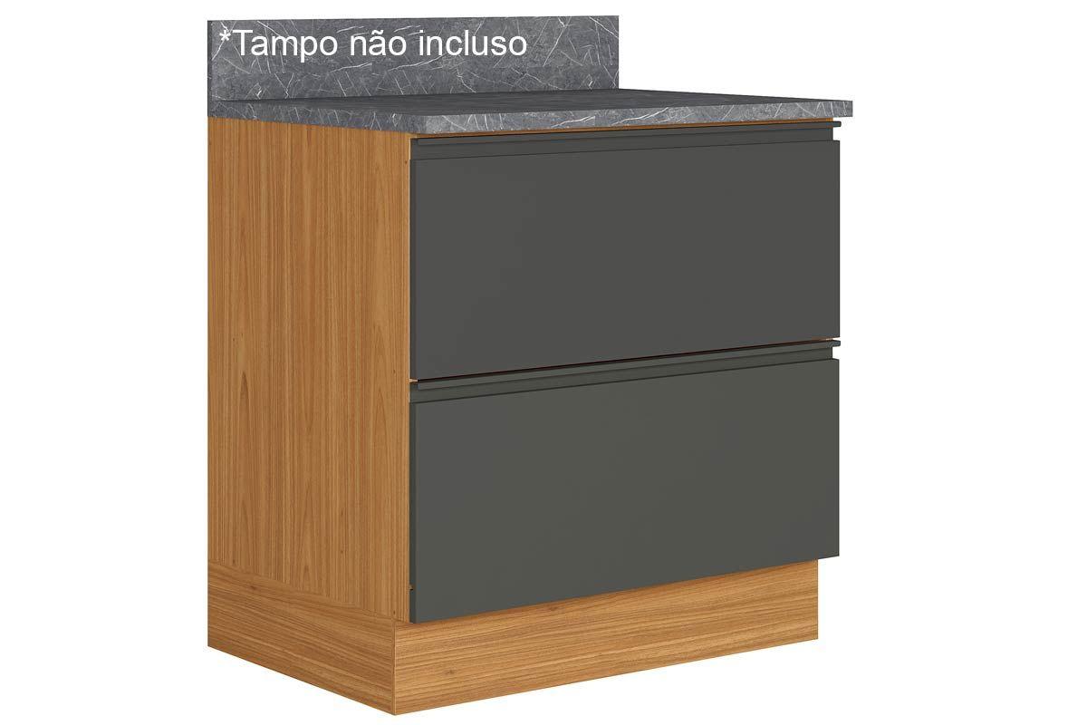Gabinete de Cozinha Itatiaia Inova BALC 1PT HOR 1GV 80 ST 1 Porta e 1 Gaveta s/ TampoCor Grafite