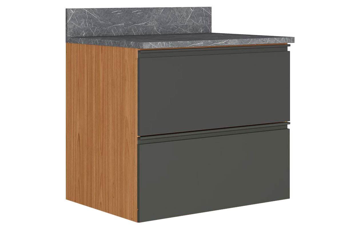 Gabinete de Cozinha Itatiaia Inova BALC 1PT HOR 1GV 80 SRP 1 Porta e 1 Gaveta s/RodapéCor Grafite