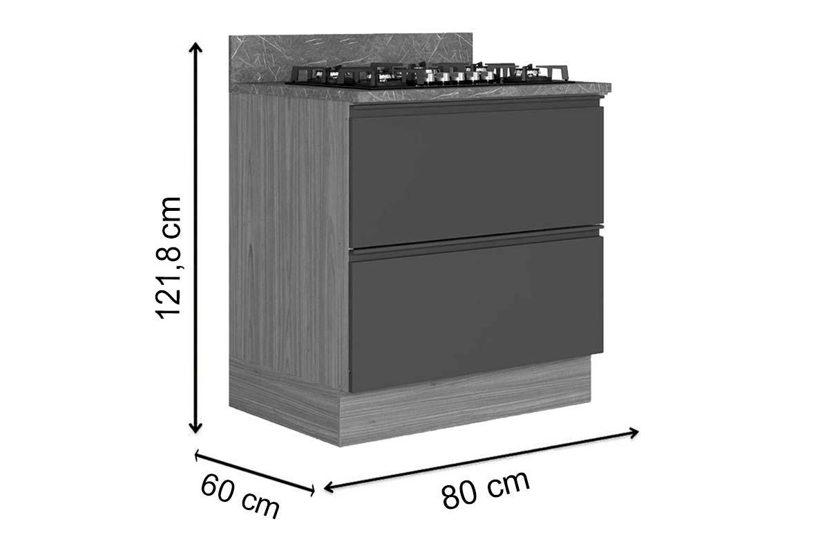 Gabinete de Cozinha Itatiaia Inova BALC-80 1PTH1G CRP/IT CZL CK4B 1 Porta e 1 Gaveta