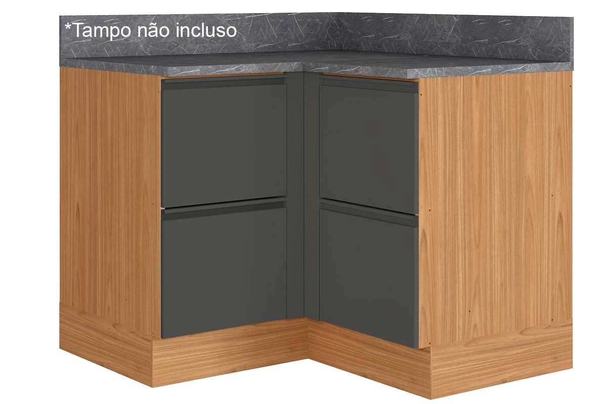 Gabinete de Cozinha Itatiaia Inova BALC CANTO 4PT HOR ST 4 Portas s/ TampoCor Grafite