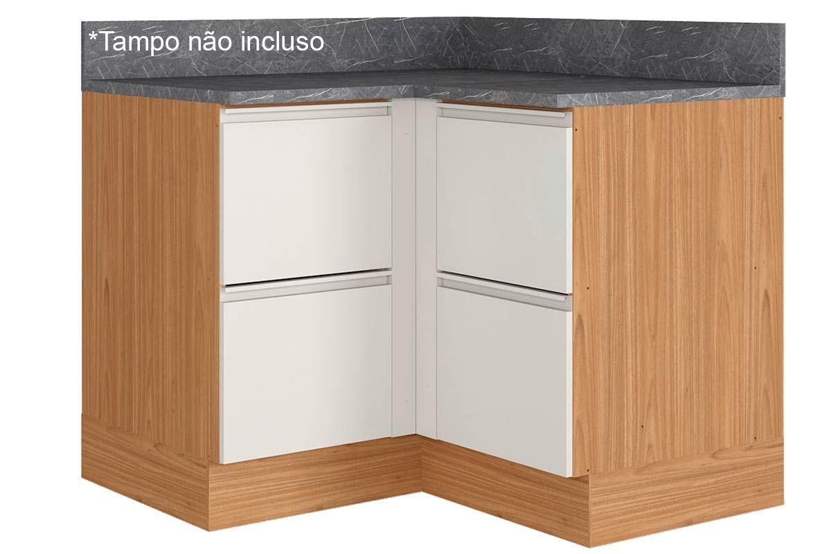 Gabinete de Cozinha Itatiaia Inova BALC CANTO 4PT HOR ST 4 Portas s/ TampoCor Off White