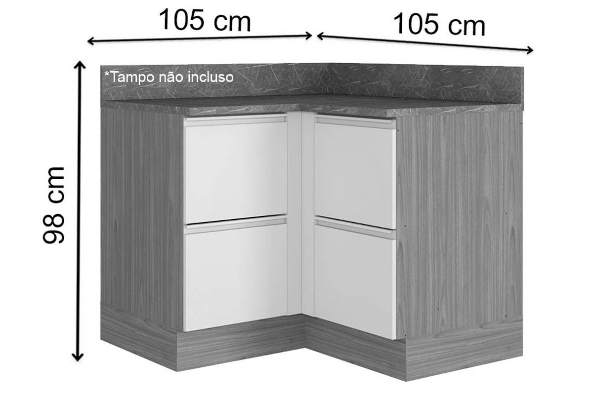 Gabinete de Cozinha Itatiaia Inova BALC CANTO 4PT HOR ST 4 Portas s/ Tampo