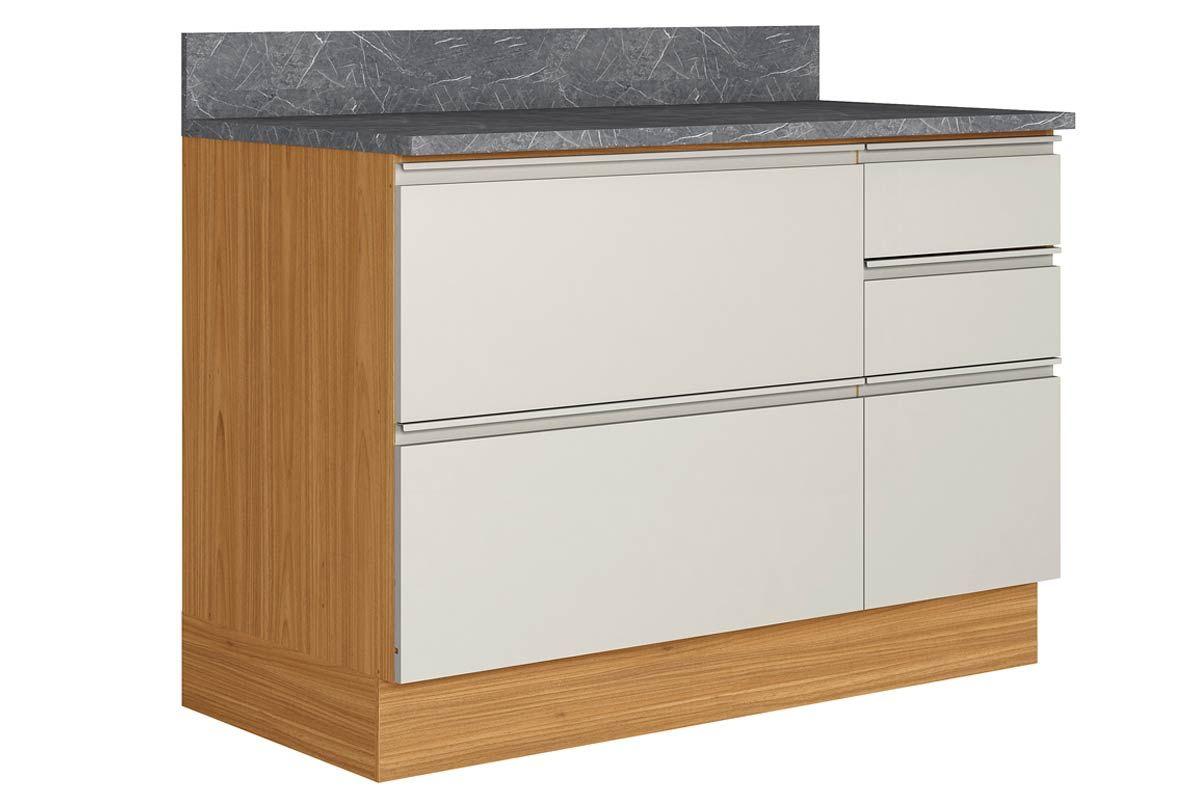 Gabinete de Cozinha Itatiaia Inova BALC-120 1PT HOR 4G CRP/IT CZL 1 Porta e 4 GavetasCor Off White