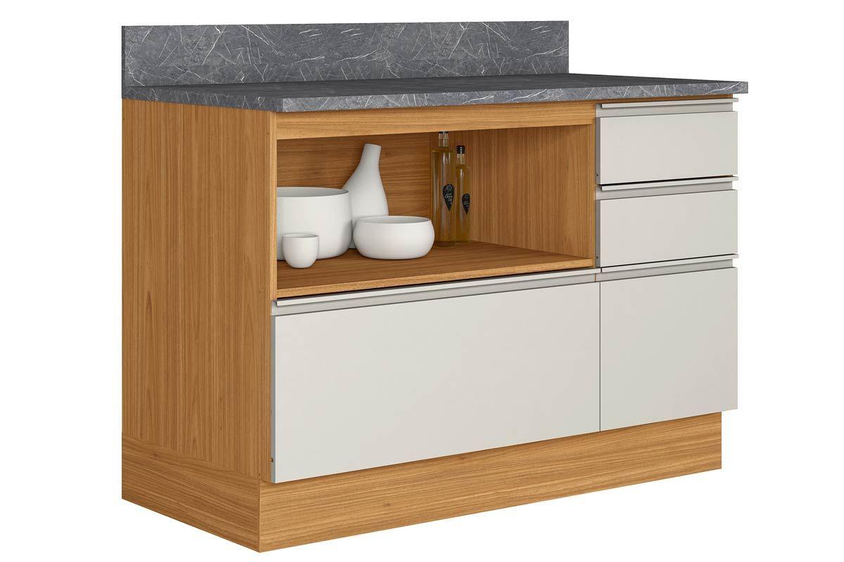 Gabinete de Cozinha Itatiaia Inova BALC-120 1PT HOR 4G CRP/IT CZL 1 Porta e 4 Gavetas