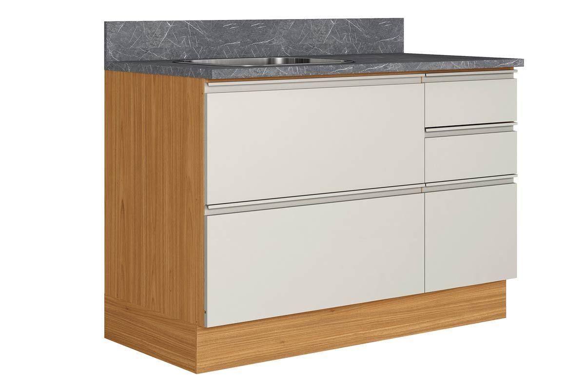 Gabinete de Cozinha Itatiaia Inova BALC-120 1PTH4G CRP/IT CZL PIA 1 Porta e 4 GavetasCor Off White