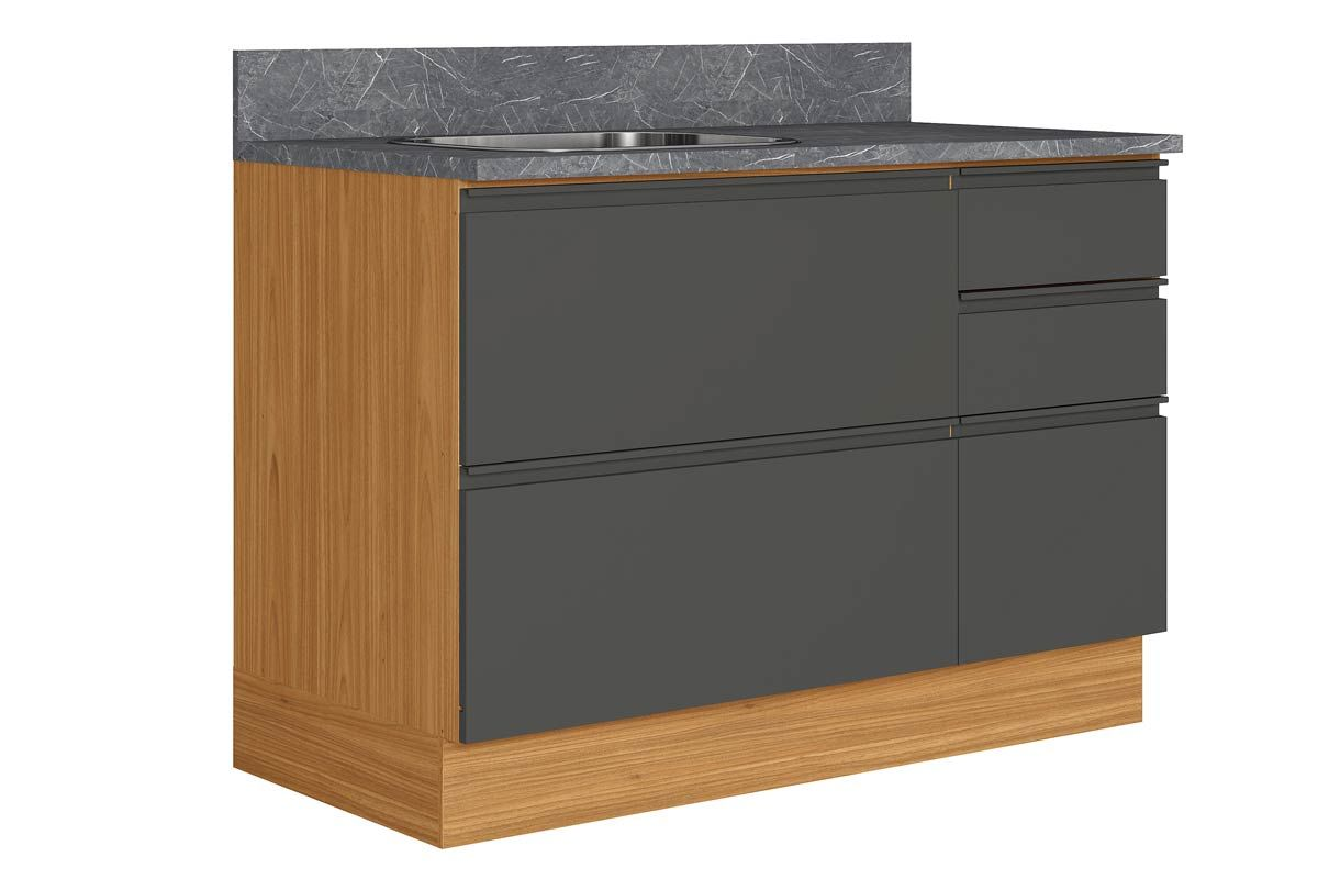 Gabinete de Cozinha Itatiaia Inova BALC-120 1PTH4G CRP/IT CZL PIA 1 Porta e 4 GavetasCor Grafite