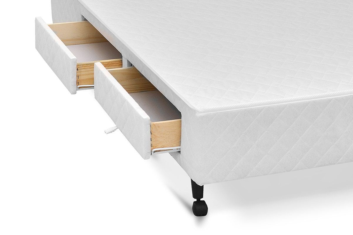 Cama Box Base Castor c/ Gavetas Tecido Branco