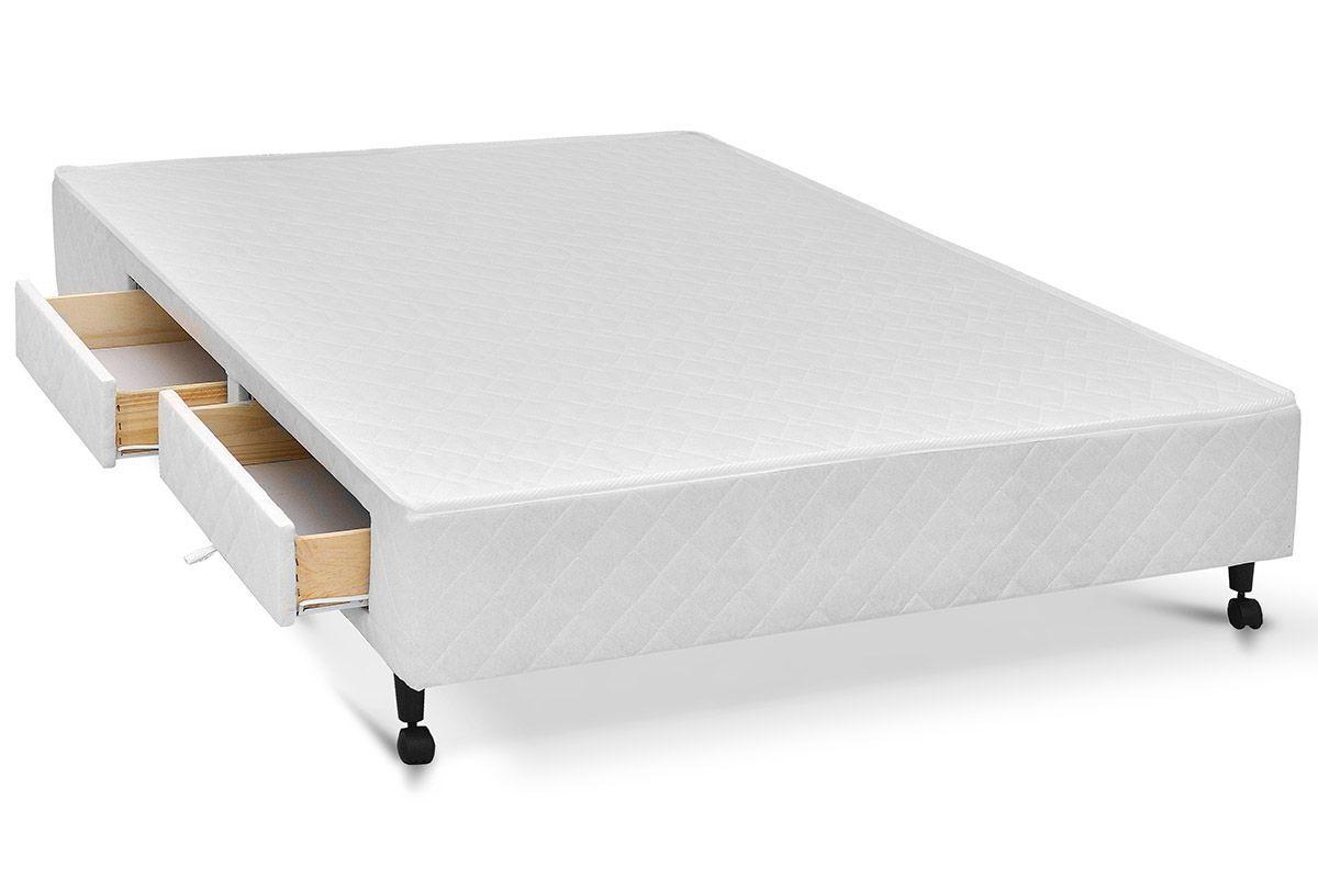 Cama Box Base Castor c/ Gavetas Tecido BrancoCama Box Branco 4 Gav.Queen Size - 1,58x1,98x0,23 - Sem Colchão