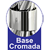 Mesa Carraro 1502 Aço Cromado c/ Tampo de Vidro 80x80x0,6cm -  Vantagens Extras da mesa
