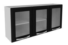 Armário de Cozinha Itatiaia Itanew Aço 3 Portas C/ Vidro 120cm (IPV3-120 NG)