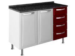 Gabinete (Balcão) de Cozinha Itatiaia Itanew Aço 2 Portas + 4 Gavetas c/ Tampo 120cm (IG3G4-120) - Cor Branco