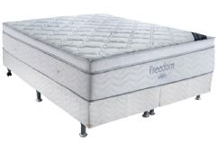 Conjunto Box - Colchão Ortobom de Molas Pocket Freedom Viscoelástico + Cama Box Universal Couríno White