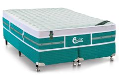 Conjunto Box: Colchão Castor Molas Pocket Gold Star Green + Cama Box Courino White
