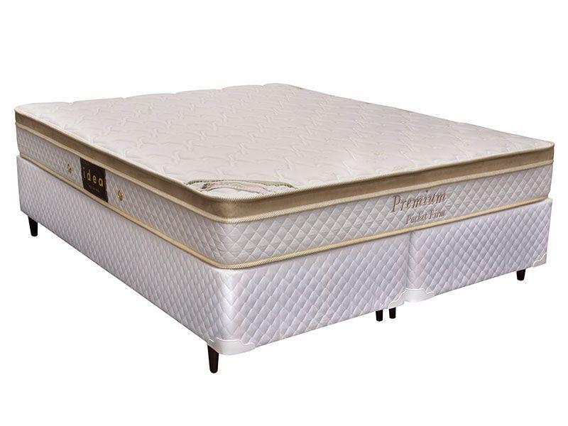 Conjunto Box: Colchão  Herval Pocket Premium Firm + Cama Couríno White