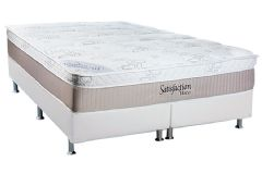 Conjunto Box: Colchão Luckspuma Molas Pocket Satisfaction + Cama Box Courino White