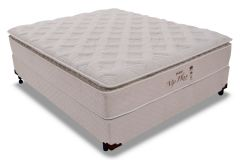 Conjunto Cama Box - Colchão Probel de Molas Pocket Vip Plus Látex + Cama Box Universal Couríno White