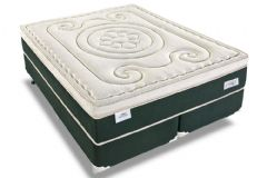Conjunto Box: Colchão Sealy Molas Superlastic Mystique Látex Euro + Cama Box Courino Bianco
