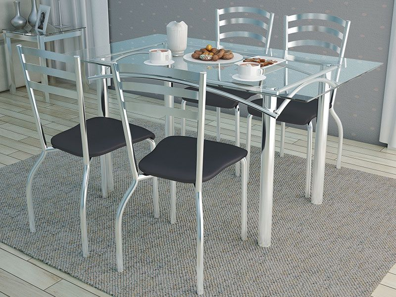 Conjunto de Mesa Kappesberg Elba + 4 Cadeiras Cromada Portugal