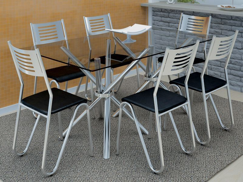 Conjunto de Mesa Kappesberg Reno + 6 Cadeiras Cromada