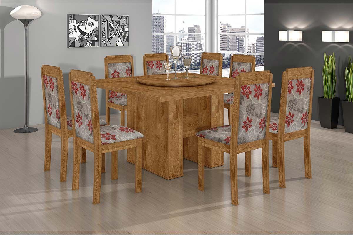 Conjunto de Mesa Lopas Iracema + 8 Cadeiras Madeirado Pérola