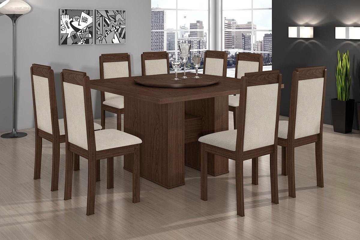 Conjunto de Mesa Lopas Iracema   8 Cadeiras Madeirado Pérola até 40%  #4D5F20 1200x800
