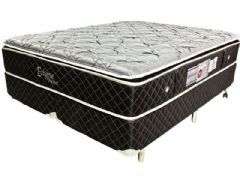 Conjunto Box - Colchão Luckspuma de Molas Pocket Eclypse + Cama Box Universal Couríno Black