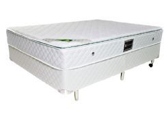 Conjunto Box - Colchão Luckspuma de Molas Pocket Luck Spring Bege + Cama Box Universal Couríno White