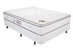 Conjunto Box - Colchão Luckspuma Molas Pocket Luck Spring O.S. + Cama Box Courino White
