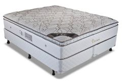Conjunto Box: Colchão Luckspuma Molas Pocket Platinum + Cama Box Courino White