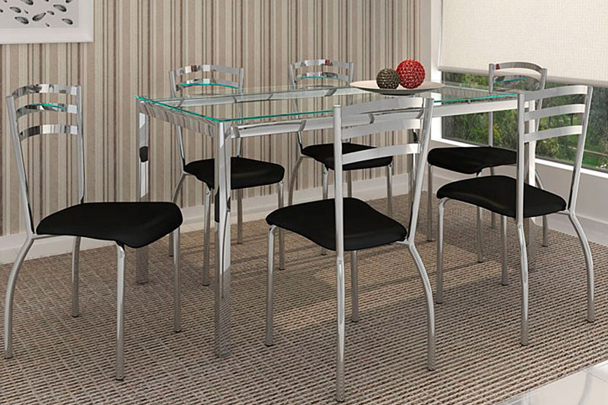 Conjunto de Mesa Kappesberg Reno + 6 Cadeiras Cromada Portugal
