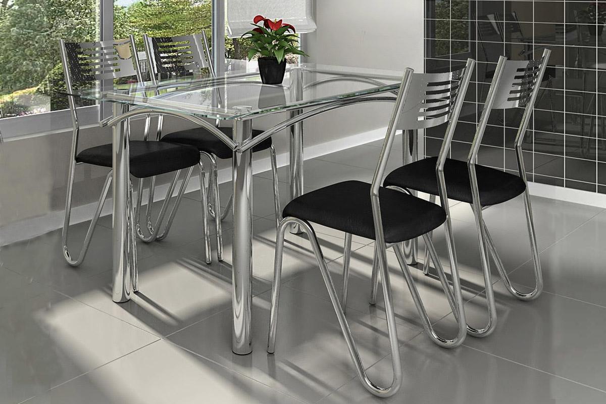 Conjunto de Mesa Kappesberg Elba   6 Cadeiras Cromada Nápoles até 40  #614843 1200x800