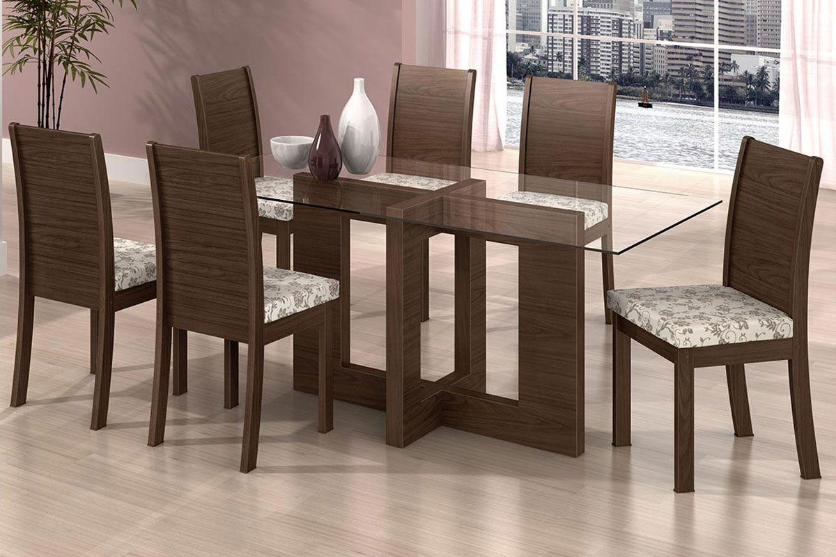 Conjunto Mesa de Jantar Lopas Florença   6 Cadeiras Florença até 40  #402D20 1200x800