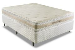 Conjunto Box: Colchão Herval Molas ConforClass One Class O.Side + Cama Box Courino White