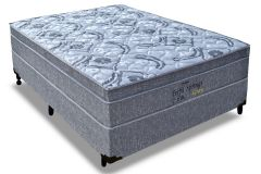Conjunto Box: Colchão Probel Molas Pocket Perfil Springs Gray + Cama Box Nobuck Cinza
