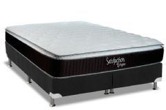 Conjunto Box: Colchão Luckspuma Molas Bonnel Satisfaction Eclypse + Cama Box Nobuck Black