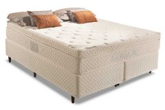 Conjunto Box: Colchão Herval Molas Pocket Euro Bambu Plus + Cama Box Courino White