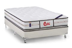 Conjunto Box: Colchão Castor Molas Pocket Gold Star Vitagel Class Double Face + Cama Box Courino White