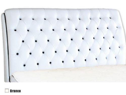 Cabeceira Cama Box MB Veranda Color -  0,88 Solteiro  -  Revestimento Branco c/ Botão Preto (Color)