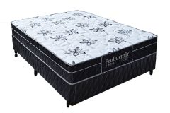 Conjunto Box: Colchão Probel Molas Pocket Springs Black + Cama Box Courino Black