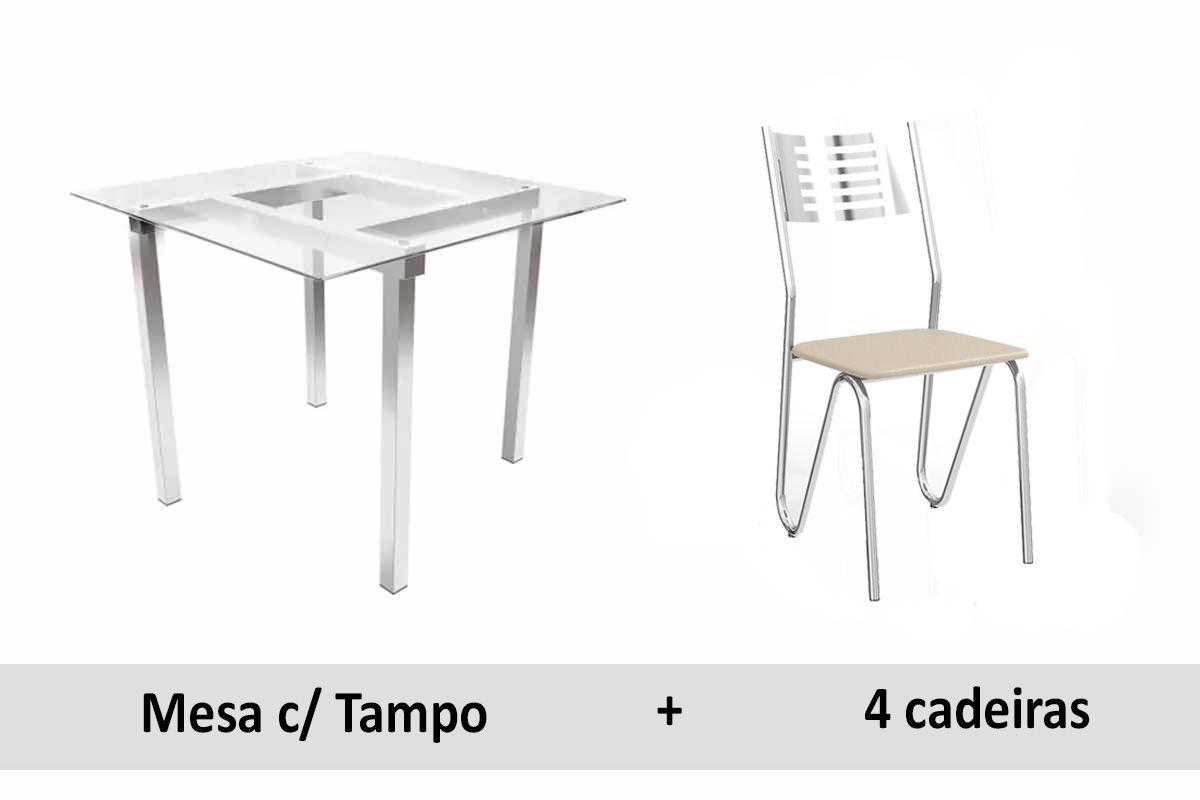 Conjunto de Mesa Kappesberg Volga + 6 Cadeiras Cromada