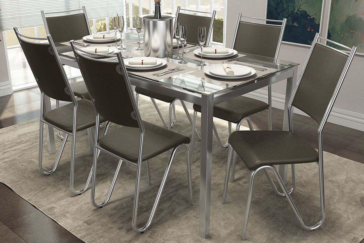 Mesa de jantar kappesberg reno cromada 6 cadeiras for Bases de mesas cromadas
