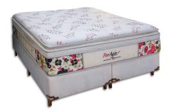 Conjunto Box: Colchão Simbal Molas Pocket Flowers + Cama Box Courino White